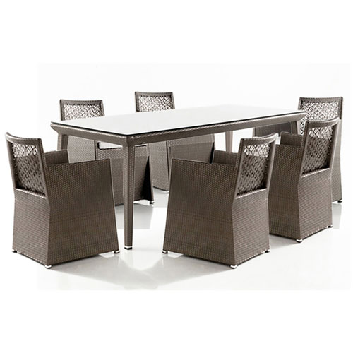 Bronze Grey Woven Dining Set with Sunbrella Linen Taupe cushion, 7 Piece