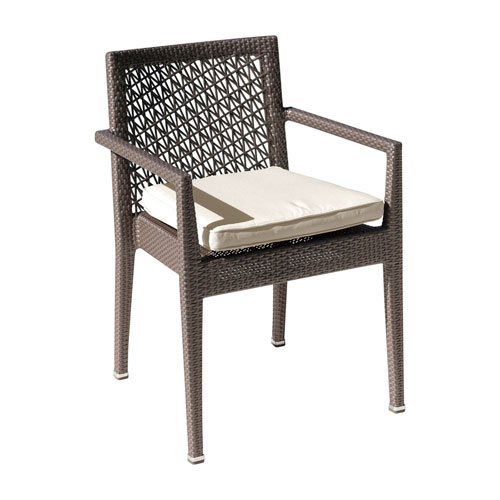 Bronze Grey Outdoor Stackable Armchair with Sunbrella Canvas Heather Beige cushion