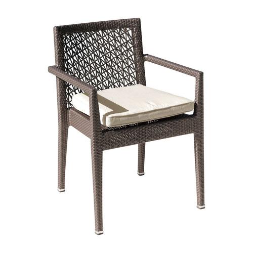 Bronze Grey Outdoor Stackable Armchair with Sunbrella Canvas Brick cushion