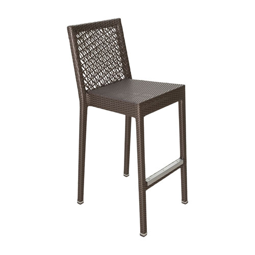 Bronze Grey Stackable Outdoor Barstool with Sunbrella Linen Silver cushion