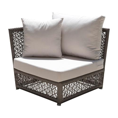 Bronze Grey Outdoor Modular Chairs with Sunbrella Linen Silver cushion