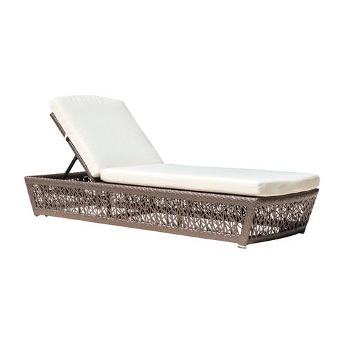 Bronze Grey Outdoor Chaise Lounger with Sunbrella Bay Brown cushion