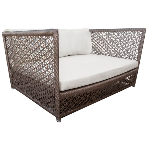 Bronze Grey Outdoor Daybed with Sunbrella Linen Champagne cushion