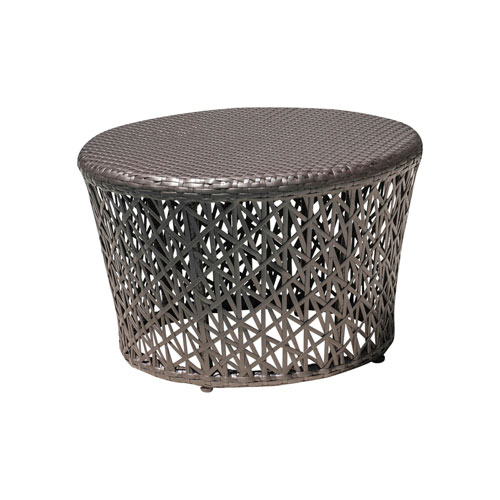 Bronze Grey Outdoor Round End Table with Glass