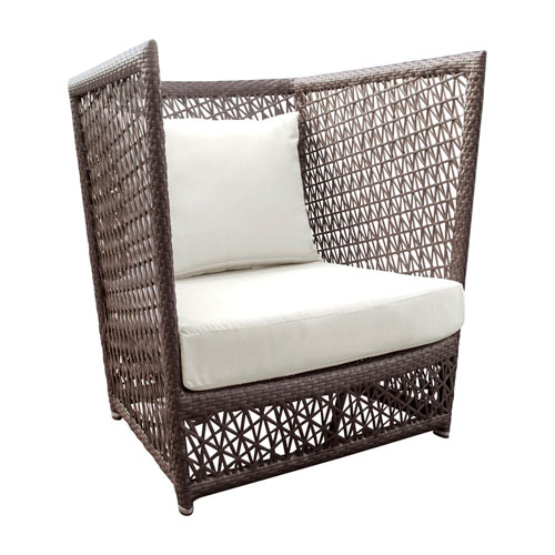 Bronze Grey Outdoor Lounge Chair with Sunbrella Linen Silver cushion