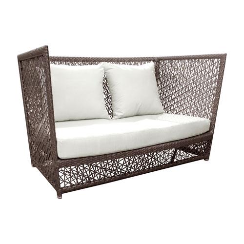 Bronze Grey Outdoor Loveseat with Sunbrella Linen Silver cushion