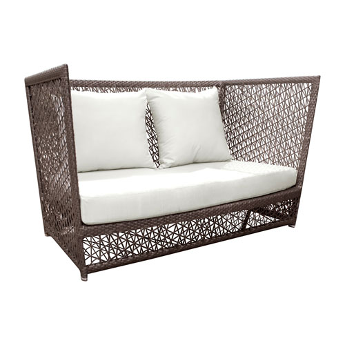 Bronze Grey Outdoor Loveseat with Sunbrella Canvas Lido Indigo cushion