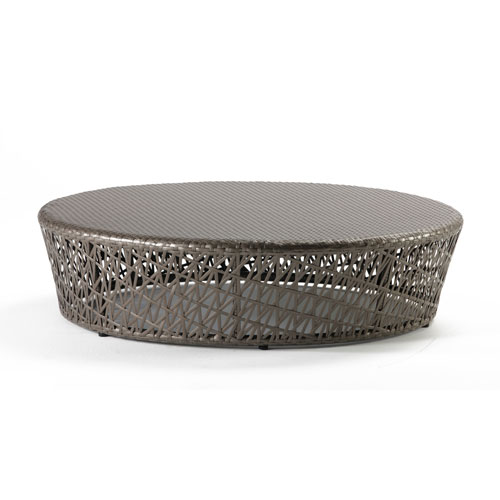 Bronze Grey Outdoor Round Coffee Table with Glass