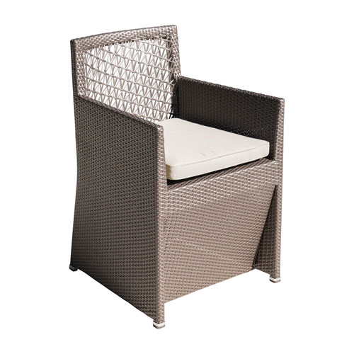 Bronze Grey Outdoor Woven Dining Chair with Sunbrella Linen Champagne cushion