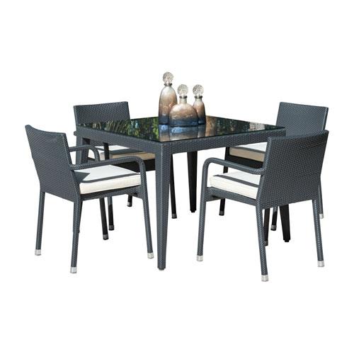 Onyx Black Outdoor Dining Set with Sunbrella Peyton Granite cushion, 5 Piece
