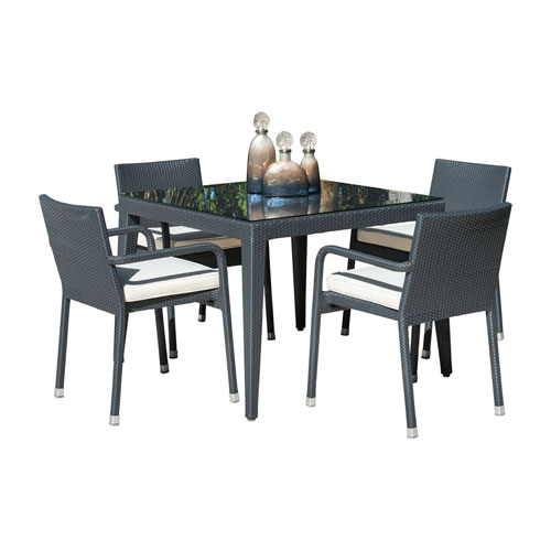 Onyx Black Outdoor Dining Set with Sunbrella Getaway Mist cushion, 5 Piece