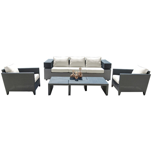 Onyx Black and Grey Outdoor Seating Set Sunbrella Spectrum Daffodil cushion, 4 Piece