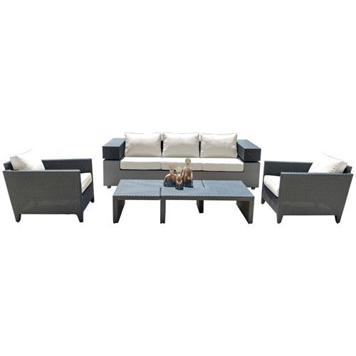 Onyx Black and Grey Outdoor Seating Set Sunbrella Getaway Mist cushion, 4 Piece
