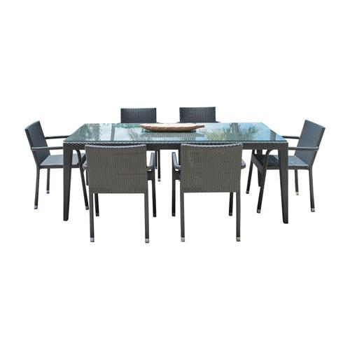Onyx Black Outdoor Dining Set with Sunbrella Cabaret Blue Haze cushion, 7 Piece