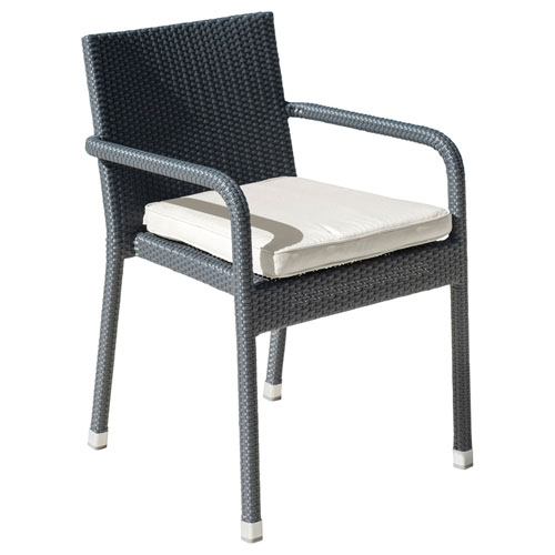 Onyx Black Stackable Outdoor Armchair with Sunbrella Frequency Sand cushion