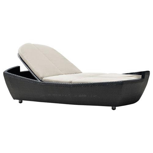 Onyx Black Double Folding Chaise Lounger with Sunbrella Canvas Heather Beige cushion