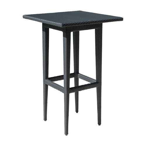 Onyx Black Square Outdoor Pub Table with Glass