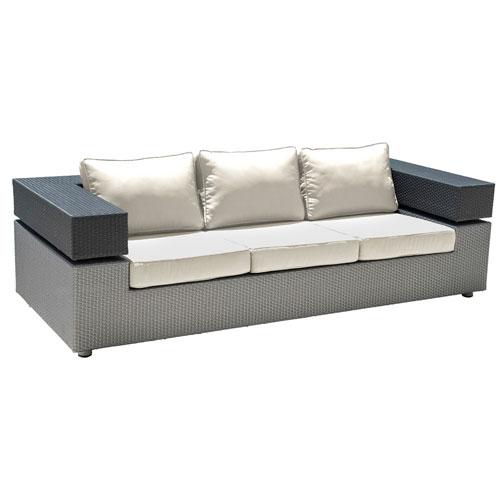 Onyx Black and Grey Outdoor Sofa with Sunbrella Blox Slate cushion