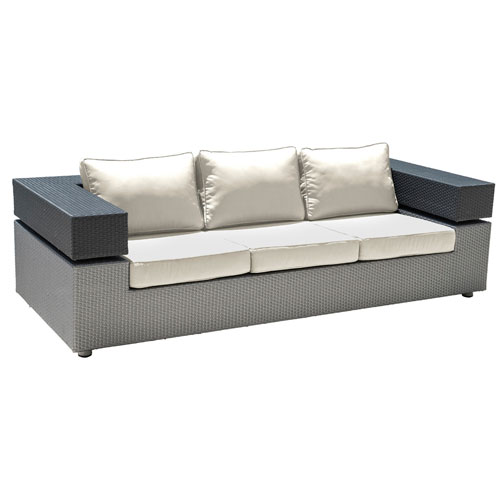 Onyx Black and Grey Outdoor Sofa with Sunbrella Linen Champagne cushion