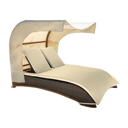 Big Sur Dark Brown Outdoor Canopy Daybed with Sunbrella Gavin Mist cushion