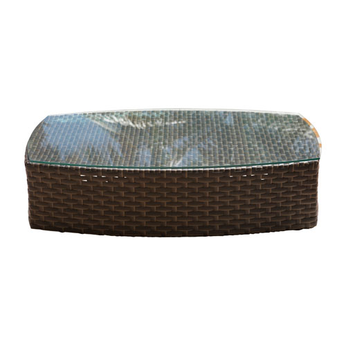 Big Sur Dark Brown Outdoor Oval Coffee Table with Glass