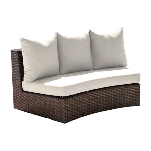 Big Sur Dark Brown Outdoor Curved Loveseat with Sunbrella Peyton Granite cushion