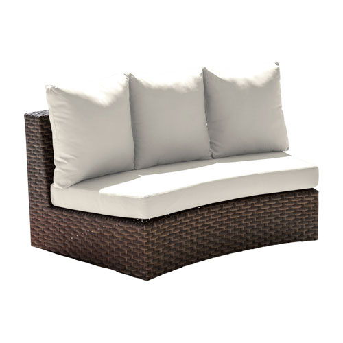 Big Sur Dark Brown Outdoor Curved Loveseat with Sunbrella Cast Silver cushion