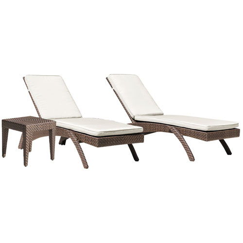 Oasis Java Brown Outdoor Chaise Lounge with Sunbrella Cabana Regatta cushion, 3 Piece