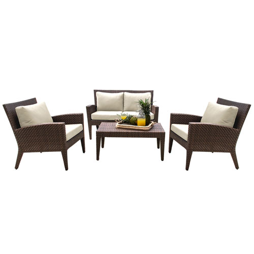 Oasis Java Brown Outdoor Seating Set Sunbrella Canvas Melon cushion, 4 Piece