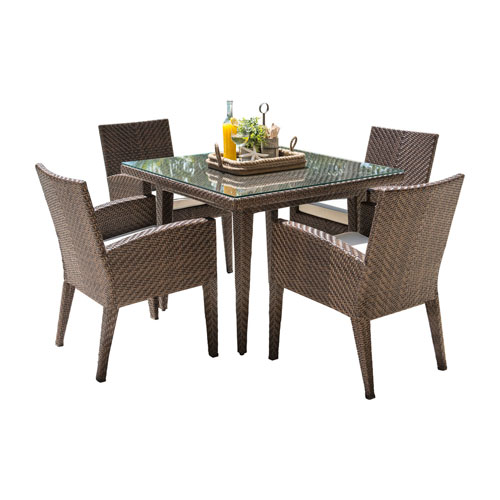 Oasis Java Brown Outdoor Dining Set with Sunbrella Solana Seagull cushion, 5 Piece