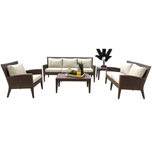 Oasis Java Brown Outdoor Seating Set with Sunbrella Canvas Heather Beige cushion, 5 Piece