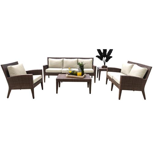 Oasis Java Brown Outdoor Seating Set with Sunbrella Canvas Lido Indigo cushion, 5 Piece