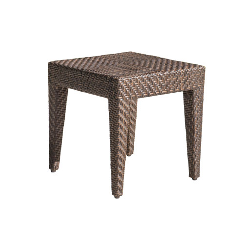 Oasis Java Brown Outdoor End Table with Glass