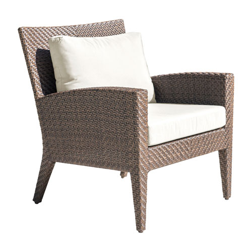Oasis Java Brown Outdoor Lounge Chair with Sunbrella Linen Champagne cushion