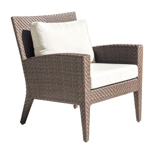 Oasis Java Brown Outdoor Lounge Chair with Sunbrella Canvas Lido Indigo cushion