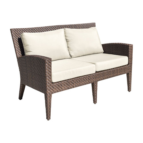 Oasis Java Brown Outdoor Loveseat with Sunbrella Linen Champagne cushion
