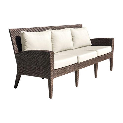 Oasis Java Brown Outdoor Sofa with Sunbrella Passage Poppy cushion