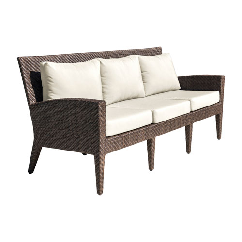 Oasis Java Brown Outdoor Sofa with Sunbrella Cast Coral cushion