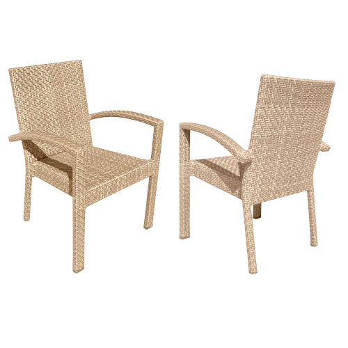 Austin Natural Outdoor Dining Arm Chair, Set of Two