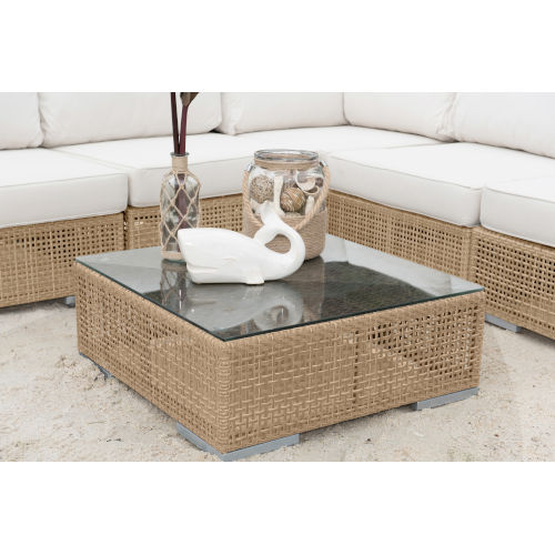Austin Natural Outdoor Coffee Table with Glass
