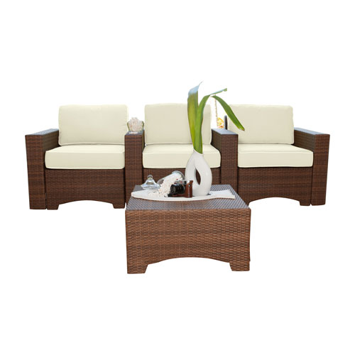 Key Biscayne Antique and Brown Outdoor Theatre Seating with Cushions, 4 Piece