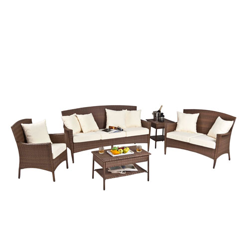 Key Biscayne Antique and Brown Seating Group with cushions, 5 Piece
