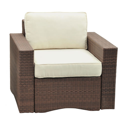 Key Biscayne Antique and Brown Deep Seating Outdoor Lounge chair with Cushions