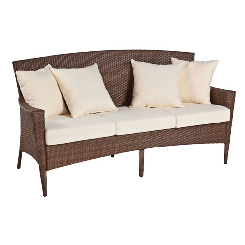 Key Biscayne Antique and Brown Outdoor Woven Sofa with Cushions
