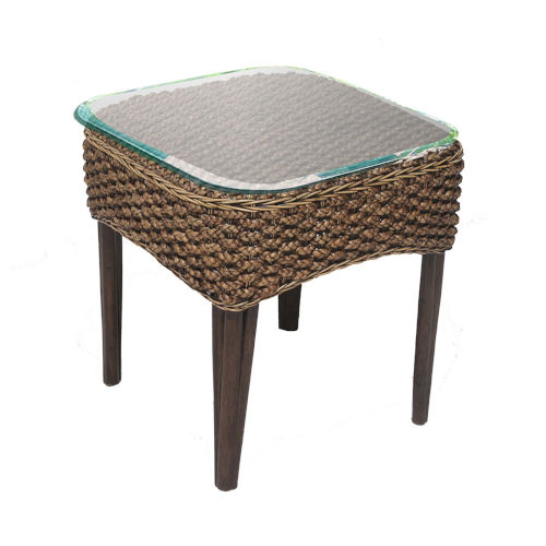 Sanibel Natural Indoor End Table with Glass