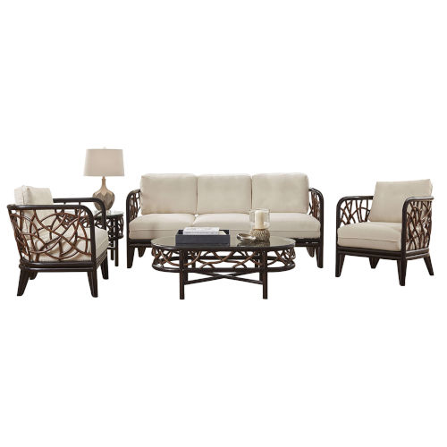 Trinidad Patriot Cherry Five-Piece Living Set with Cushion