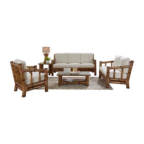 Kauai Bamboo Island Hoppin Five-Piece Living Set with Cushion