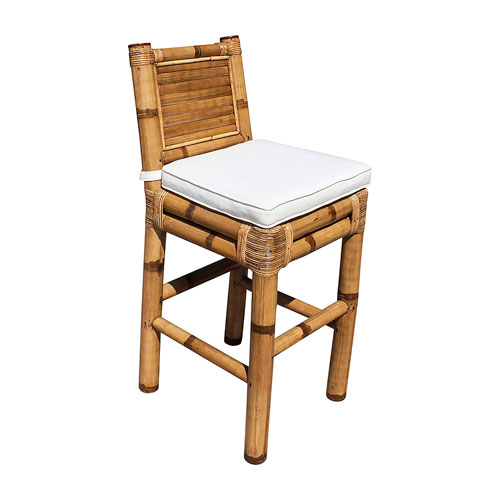 Kauai Bamboo York Bluebell Barstool with Cushion