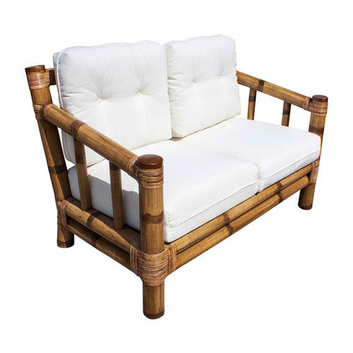 Kauai Bamboo Patriot Birch Loveseat with Cushion