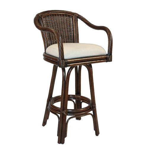 Key West Indoor Swivel Rattan and Wicker 24-Inch Counter stool in Antique Finish